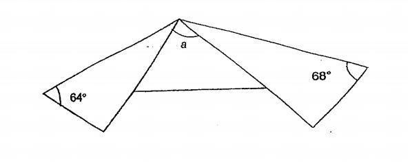 Question Image of A rectangular piece of paper was folded as shown below. Find $\angle$a..