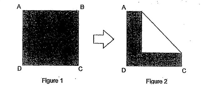 Question Image of A square piece of paper, ABCD, is shaded on one side as shown in figure1. It is then folded at its comer B to form an isosceles triangle as shown in figure 2. The perimeter and area of the remaining shaded region in figure 2 is 72cm and 180cm$^2$ respectively. Find the area of the isosceles triangle.  .