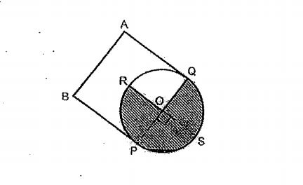Question Image of From the figure, PQ and RS are 2 diameters which are perpendicular to each other, ABPQ is a square and OP = 14cm. $(Take \pi = \frac{22}{7})$, Find the unshaded area of the figure.   .