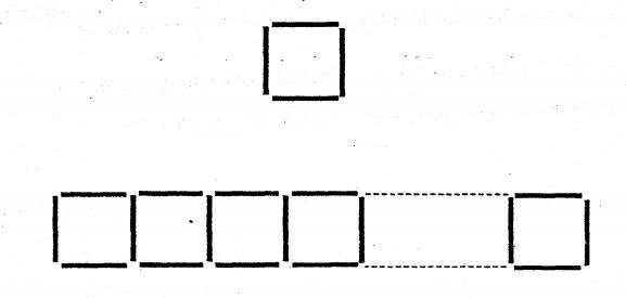 Question Image of Hailey used 4 identical sticks to form a square as shown below. She then formed a pattern using more of the sticks. <br>(a) How many sticks are used to form 13 squares? <br>(b) How many squares are formed using 100 sticks?  .