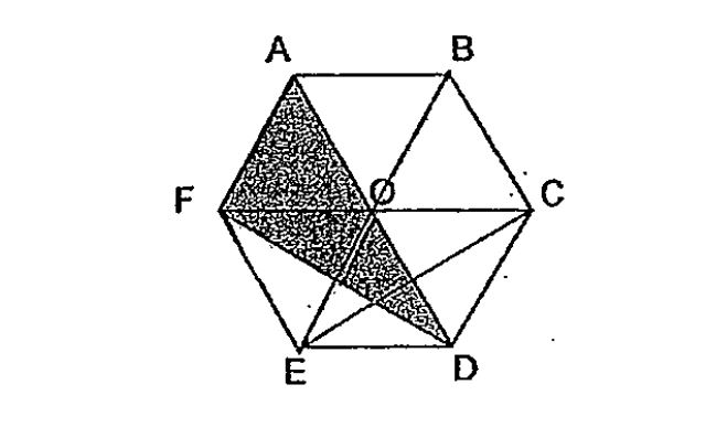 Question Image of In the diagram below, ABCO and FODE are identical rhombuses and AOF and OCD are identical equilateral triangle. What fraction of the figure ABCDEF is shaded?  .