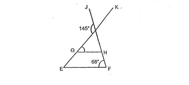 Question Image of In the diagram below, EF is parallel to GH and JF and KE are straight line. Find$\angle$KGH.  .