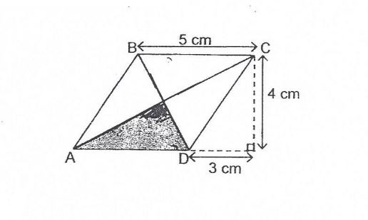 Question Image of In the diagram below, ABCD is a rhombus. E is the mid–point BC and AC. Find the area the shaded part.  .