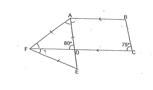 Question Image of In the diagram below, ABCD is a trapezium and AEF is an equilateral triangle. Find <br>(a) $\angle$BAD. <br>(b) $\angle$DFE.  .