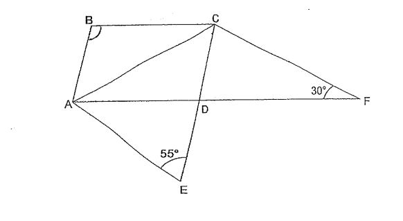 Question Image of In the diagram below, ABCD is a parallelogram. AC = CE = CF. $\angle$AEC = 55$^\circ $ and  $\angle$AFC = 30$^\circ$  AF and CE are straight lines. Find $\angle$ABC.   .