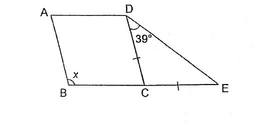 Question Image of In the figure below, ABCD is a rhombus and CDE is an isosceles triangle. $\angle$CDE = 36$^\circ$ and BCE is a straight line. Find$\angle$x.  .