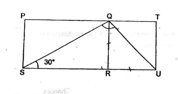 Question Image of In the figure below, PQRS is a rectangle and QTUR is a square. PQT and SRU are straight line. Find $\angle$ SQU.  .