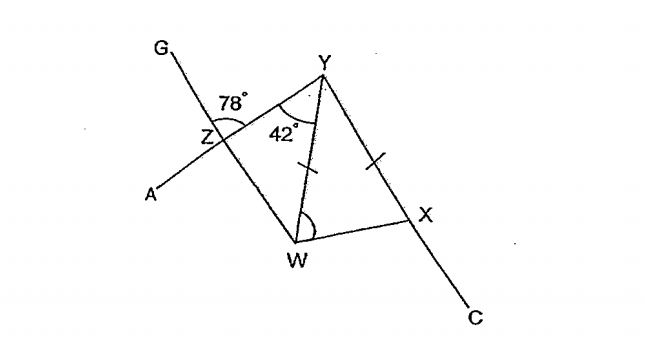 Question Image of In the figure below, not drawn to scale, WXYZ is a trapezium. AY, GW and YC are straight line. Find $\angle$YWX.