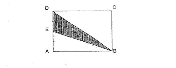 Question Image of In the figure below, ABCD is a rectangle and DE = EA. If the area of triangle BED is 7cm$^2$, Find the area of the unshaded part.  .