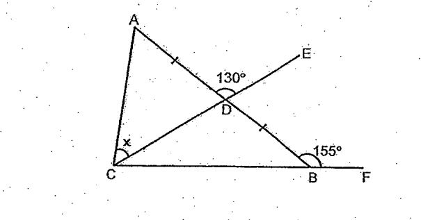 Question Image of In the figure below, ABC is a triangle. CF and CE are straight line. AD = DB, $\angle$ ADE = 130 $^\circ$. and  $\angle$ ABF = 155$^\circ$. Find $\angle$ X.   .