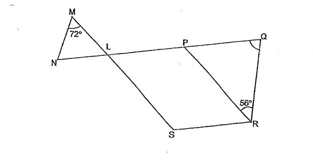 Question Image of In the figure below, not drawn to scale, LPRS is a parallelogram. ML = NL and NQ and MS are straight line. Find $\angle$PQR.   .
