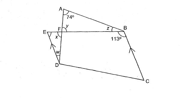 Question Image of In the figure below, EBCD is a trapezium. ED is parallel to BC. $\angle$FAB = 74$^\circ$ and $\angle$EBC = 113$^\circ$. Find the sum of $\angle$w,  $\angle$x, $\angle$y,and  $\angle$z.        .