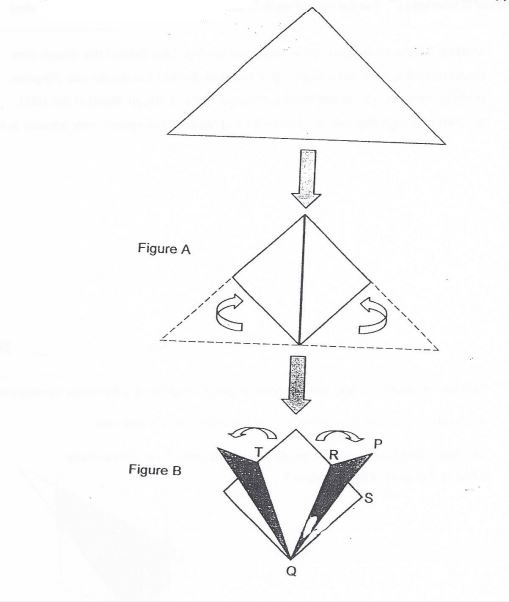 Question Image of In the figure below, two comers of a triangle piece of paper are folded inward, then outward to form a symmetrical shape as shown in Figure B. $\angle$PQR = 11$^\circ$, and  $\angle$PQS = 23$^\circ$. Find$\angle$TQR.  .