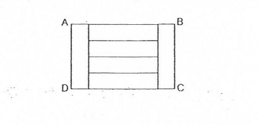 Question Image of Rectangle ABCD is divided into 6 identical small rectangle as shown below. Give that the perimeter of rectangle ABCD is 80cm, find the area of one small rectangle.  .
