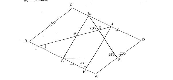 Question Image of The figure below is not scale. ABCD is a parallelogram. EFG and JKL are triangle . EG is parallel to JK and EF = FG. $\angle$ JKG = 93$^\circ$, $\angle$ ENL = 70$^\circ$ and $\angle$  EFG = 58$^\circ$. <br> (a)Find $\angle$ EJK <br>(b) Find $\angle$ JLK.  .