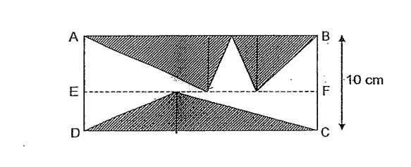 Question Image of The figure below shown rectangle ABCD and 3 shaded triangles. The total area of the shaded parts is 300cm$^2$. Given that AB // EF// DC and BC is 10cm, FindAB.  .