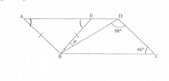 Question Image of The figure below is not drawn to scale. ABCD is a parallelogram and ABE is an isosceles triangle. Find   $\angle$p.     .