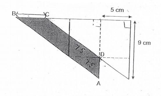 Question Image of The figure below, not drawn to scale, is made up of tow identical right-angled triangles overlapping each other. Find the area of the shaded part ABCD, where AD=3cm..