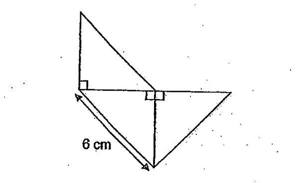 Question Image of The figure below is made up of 3 identical isosceles right-angled triangle. What is the area of the figure?   .