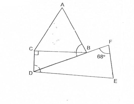 Question Image of The figure below is made up of three triangle. ABC is an equilateral triangle, BCD is a right-angled triangle and DEF is an isosceles triangle. $\angle$EFD =68$^\circ$. Find the sum of $\angle$CDE and  $\angle$ABD.  .