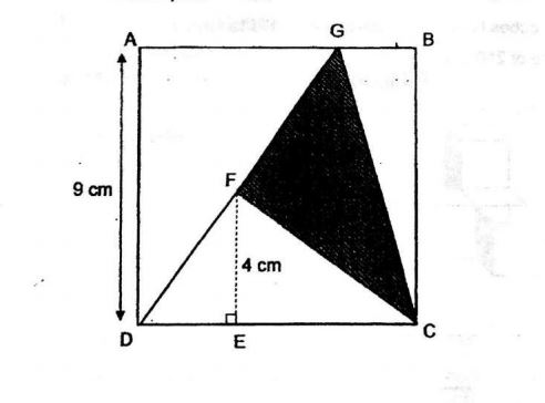 Question Image of The figure below is formed by a square ABCD and a triangle DGC. AD = 9cm, EF =4cm and FC is a straight line. Find the area of the shaded part.  .