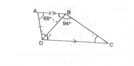 Question Image of The figure below shows a trapezium ABCD with AB // DC, $\angle$ DAB = 68 $^\circ$.  And $\angle$ ABC is an isosceles triangle with AB = AD. Find $\angle$BCD.  .