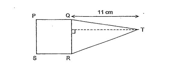 Question Image of The figure below is made up of a square and a triangle. Square QPSR has an area of 36cm$^2$. Find the area of triangle QRT.  .
