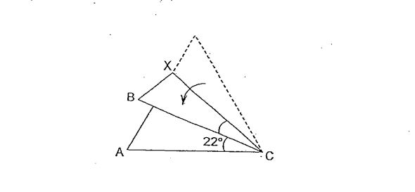 Question Image of The figure below shows an equilateral triangular piece of paper folded along line CX. $\angle$ACB is 22 $^\circ$. Find $\angle$  BCX.   .