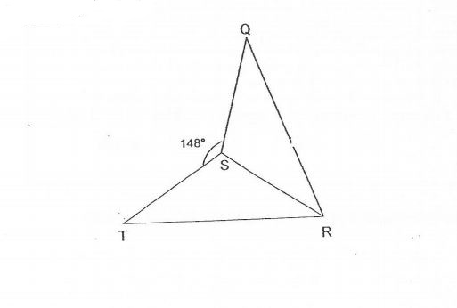 Question Image of The figure below is made up of two identical triangle. TSR and QSR. $\angle$QST = 148$^\circ$. Find $\angle$QSR.   .