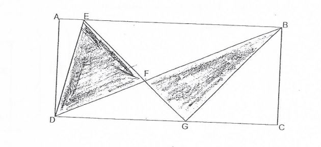 Question Image of The figure below shows a rectangle ABCD. EFG and DFB are straight line. The area of rectangle ABCD is 960cm$^2$ and the total area of triangles DEF and BEG is 336cm$^2$. The ratio of length DG to the length GC is 7:5. What is the area of the triangle DFG?   .