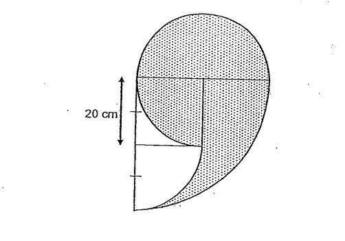 Question Image of The figure below is made up of a semicircle, a square and 3 quadrants. The side of the square is 20cm. For each of the following, use the calculator value of $\pi$ to find the area of the shaded part, correct to 2 decimal places..