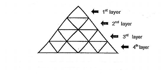 Question Image of The figure is made up of identical triangles. <br>(a) Complete the table for layers 5 and 10. <br> \begin{array}{|c|c|} \hline \ \mbox{Layer} & \mbox{Number of Triangles} \ \hline 1 & 1\ \hline 2 & 3  \ \hline 3 & 5  \ \hline 4 & 7    \ \hline 5 & (i) \ \hline \vdots & \vdots    \ \hline  \  10 & (ii) \ \hline \end{array} <br>(b) Each small triangle has a base of 4 cm and a perpendicular height of 3 cm. Find the area of all the triangles at the 30$^t$$^h$ layer..