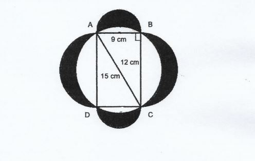 Question Image of The figure is made up of four semi – circle and a rectangle ABCD. AB = 9cm, BC = 12cm and AC 15cm. Find the total area of the shaded parts. $ (Take \pi = 3.14)$.   .