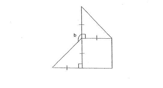 Question Image of The figure is made up of 1 square and 2 isosceles triangle. Find$\angle$ b.   .
