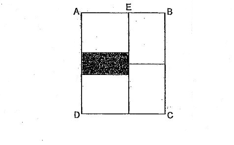 Question Image of The following figure is made up of 4 identical rectangles and a shaded rectangle shaded rectangle The length of BC is 14 cm. if the area of shaded part is 21 cm$^2$. What is the length of EB? .
