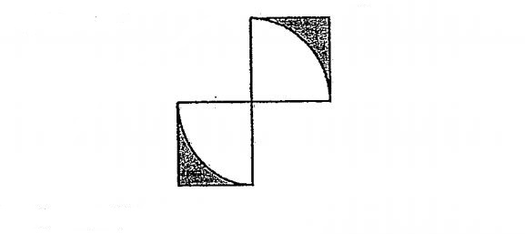 Question Image of The picture below is made up of 2 similar squares and 2 similar quadrants. The area of one square is 64cm$^2$. Find the area of the shaded region..