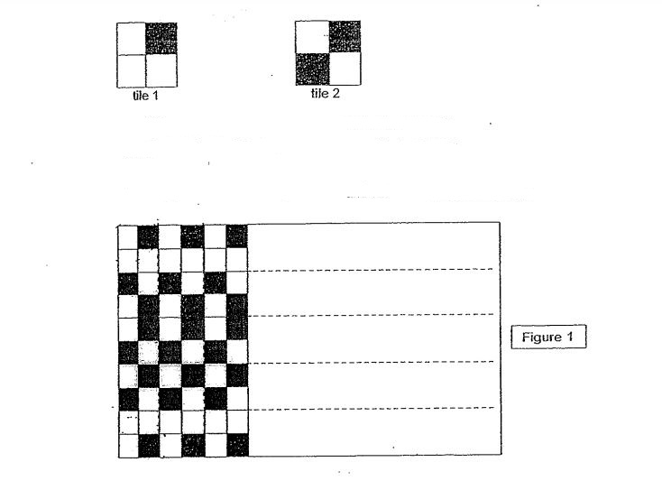 Question Image of Two types of square-shaped tiles, tile 1 and tile 2 are available to make a larger pattern on the floor. The pattern of each square-shaped tile is shown below. <br><br> Tile 1 is made up of 3 white squares and 1 black squares. <br> Tile 2 is made up of 2 white squares and 2 black squares. <br><br> Figure 1 shows a floor laid Tile 1 and Tiles 2 in a repeated patterns. <br>(a) 90 pieces of Tile 1 were used to cover part of the floor in  the room in the pattern shown in figure 1. Find the total number of tiles needed to tile the floor in figure 1. <br>(b) What percentage of the floor in figure 1 was covered with black squares? .